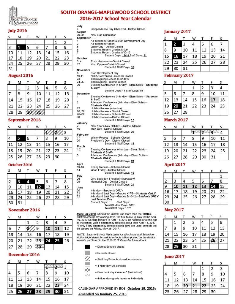 2016-2017 school year calendar - FINAL Amended 1-25-16